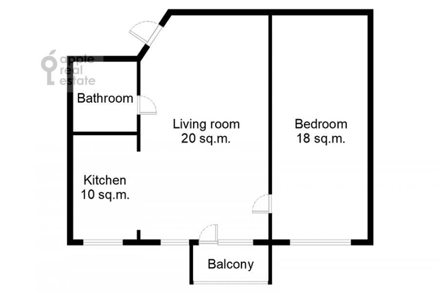Floor plan of the 2-room apartment at Dmitrovka Malaya ul. 24/2