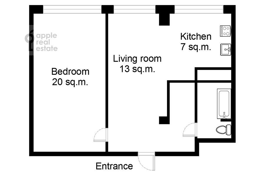 Поэтажный план 2-комнатной квартиры по адресу Арбат Новый ул. 10
