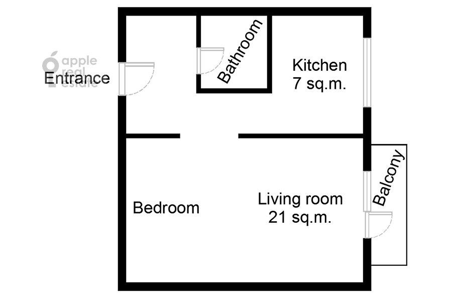 Поэтажный план 1-комнатной квартиры по адресу Якиманка Большая ул. 52