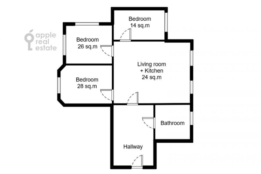 Floor plan of the 4-room apartment at Milyutinskiy per. 19/4s1