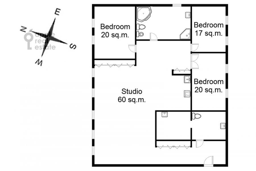Поэтажный план 4-комнатной квартиры по адресу Машкова ул. 17