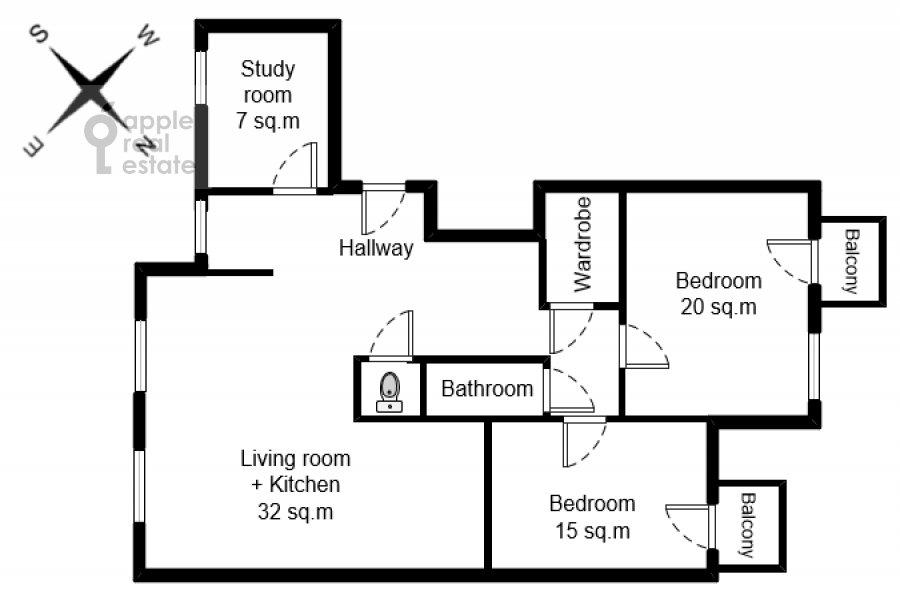 Поэтажный план 4-комнатной квартиры по адресу Тверская ул. 19