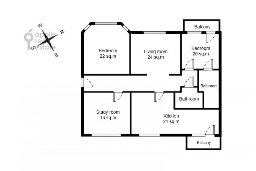 Floor plan of the 4-room apartment at Nikolaeva ul. 4
