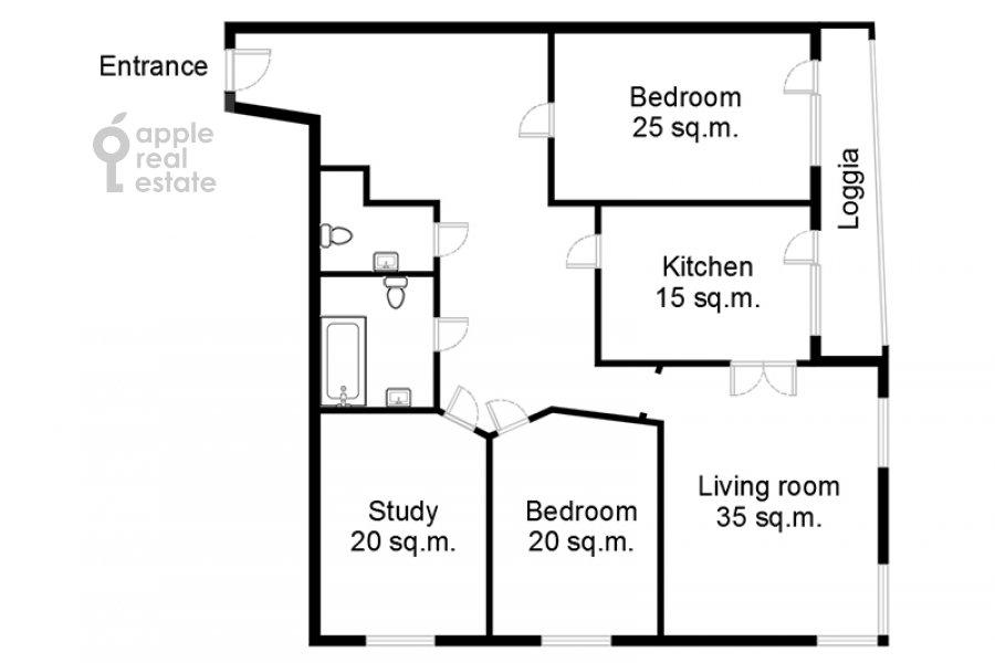 Поэтажный план 4-комнатной квартиры по адресу Шаболовка 23к3