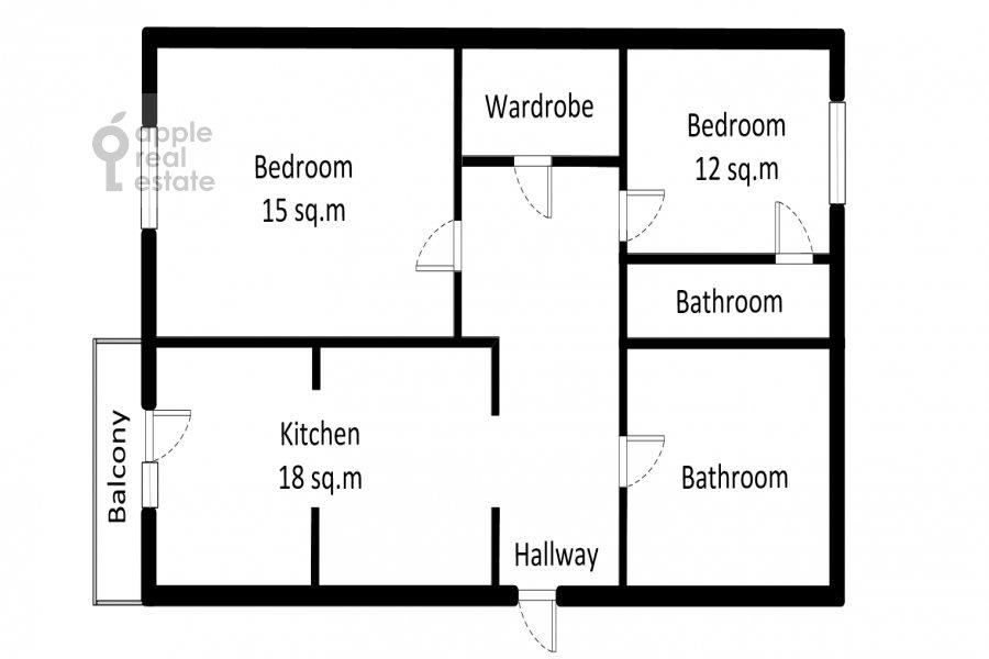 Floor plan of the 3-room apartment at Shmitovskiy pr. 16s2