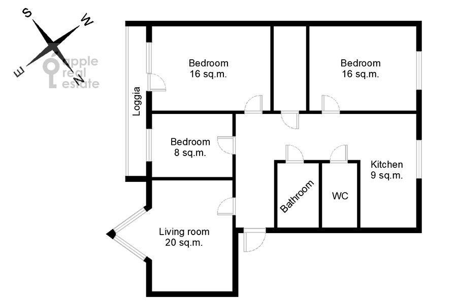 Поэтажный план 4-комнатной квартиры по адресу Гончарный пр. 8/40