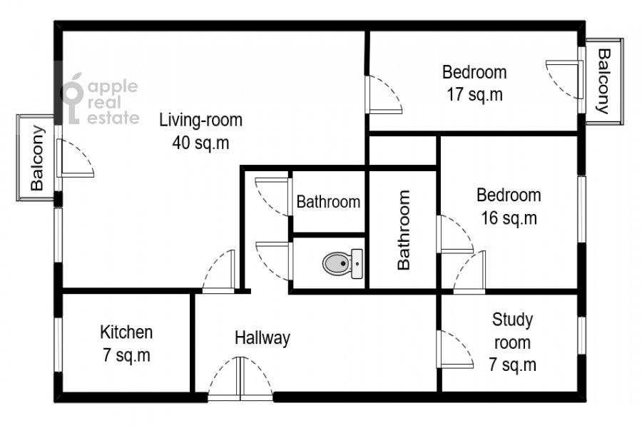 Поэтажный план 4-комнатной квартиры по адресу Тверская ул. 8к1