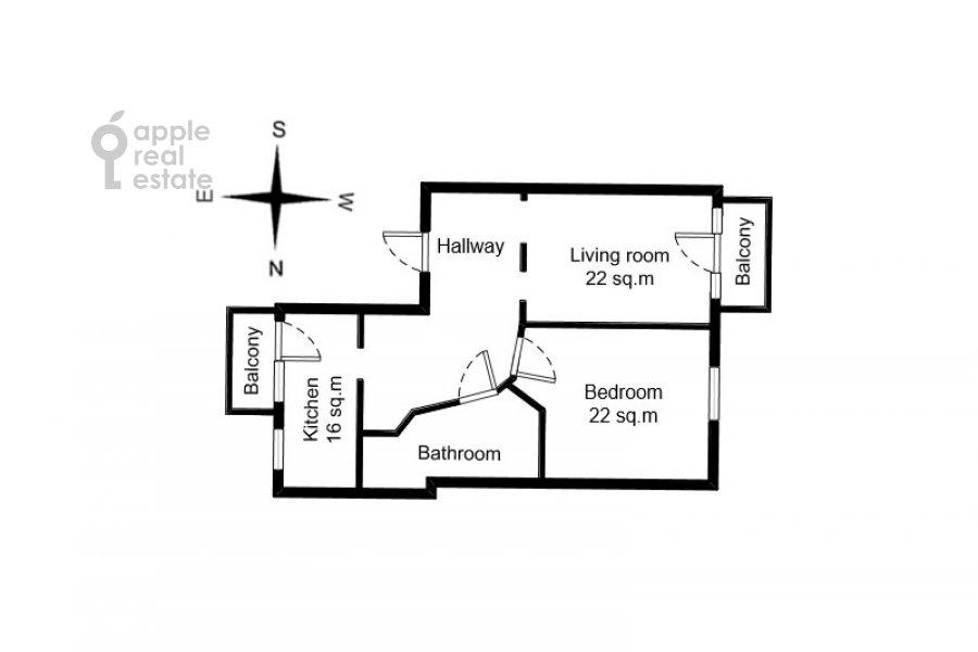 Floor plan of the 2-room apartment at Novinskiy bul'v. 12