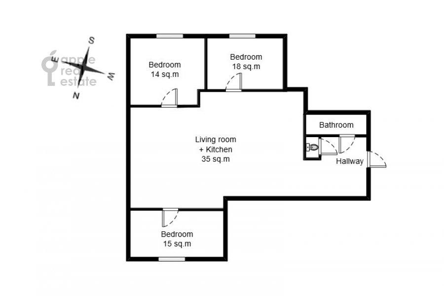 Floor plan of the 4-room apartment at Lyalin per. 20