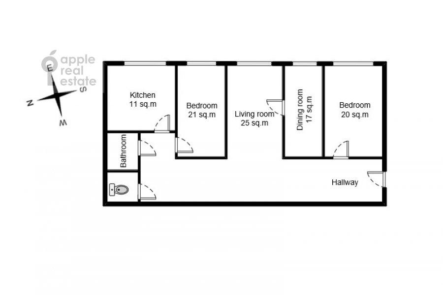 Поэтажный план 4-комнатной квартиры по адресу Новинский бульв. 18c1