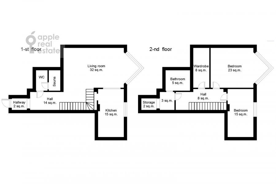 Поэтажный план 3-комнатной квартиры по адресу Зоологическая ул. 28с2
