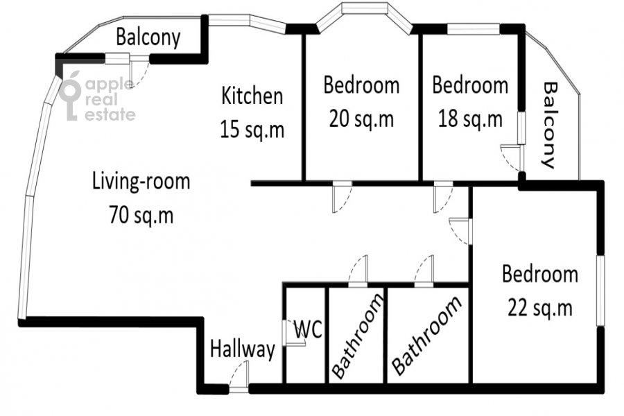 Поэтажный план 4-комнатной квартиры по адресу Ленинский пр-т. 128