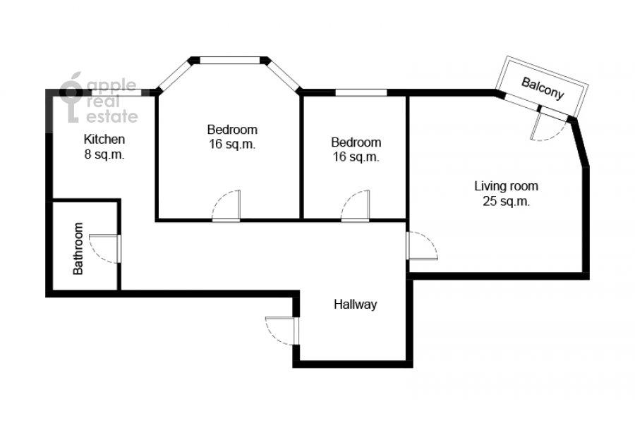 Floor plan of the 3-room apartment at Smolenskaya naberezhnaya 5/13