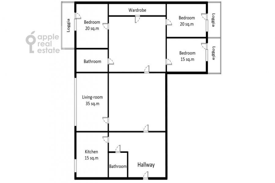 Поэтажный план 4-комнатной квартиры по адресу Пулковская ул. 4 к 3