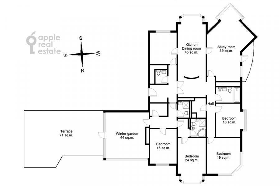 Поэтажный план 6-комнатной квартиры по адресу Тверская-Ямская 3-я ул. 44
