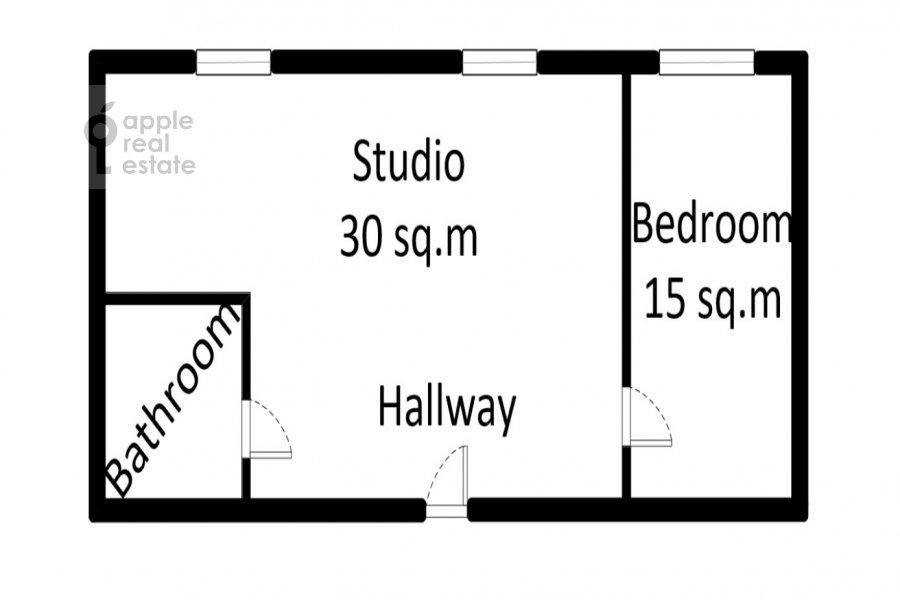 Floor plan of the 2-room apartment at Tverskaya-Yamskaya 1-ya ul. 18