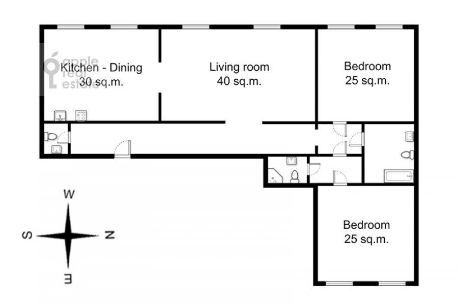 Поэтажный план 3-комнатной квартиры по адресу Тверская ул. 28к1