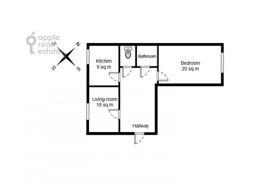 Floor plan of the 2-room apartment at Patriarshiy Malyy per. 3