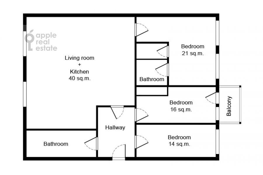 Floor plan of the 4-room apartment at Spiridonovka 22/2