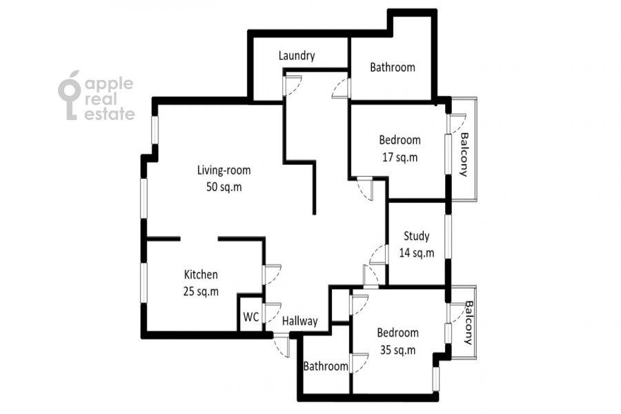Floor plan of the 4-room apartment at Strastnoy bul'v. 10/1