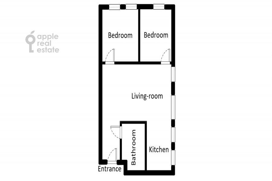 Floor plan of the 3-room apartment at Tverskaya-Yamskaya 4-ya ul. 24