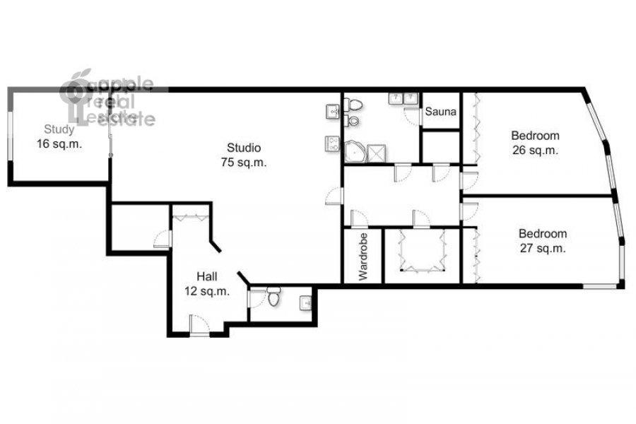 Поэтажный план 3-комнатной квартиры по адресу Вернадского пр-т. 92к1