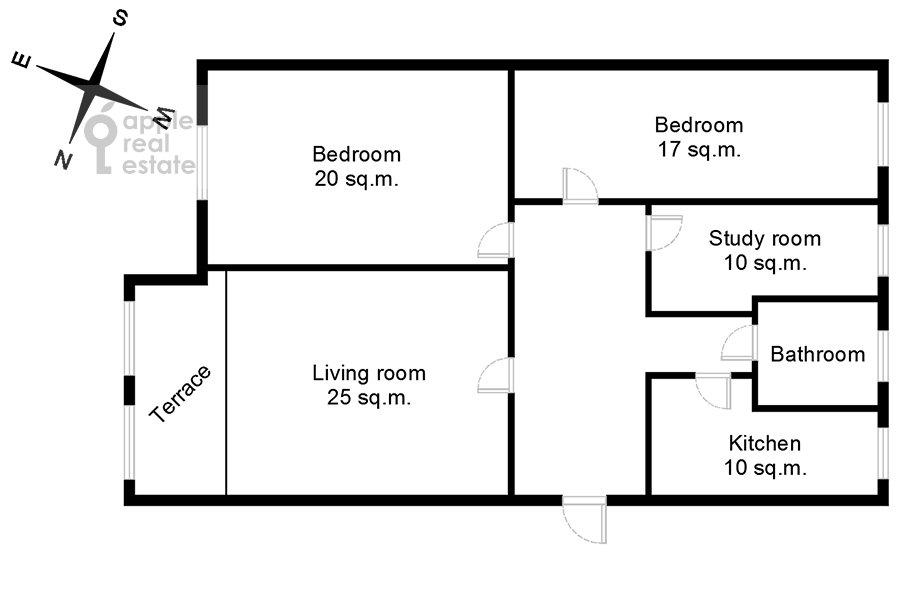 Floor plan of the 4-room apartment at Serafimovicha ul. 2