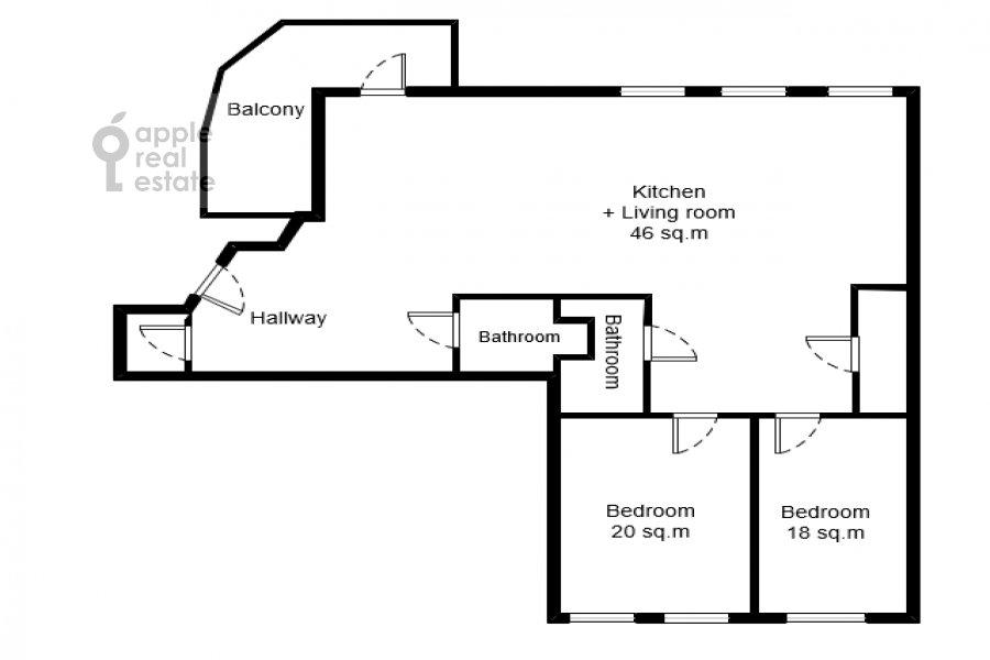 Поэтажный план 3-комнатной квартиры по адресу Поварская ул. 22