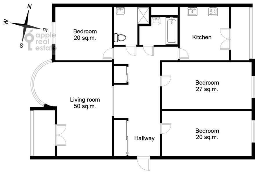 Floor plan of the 4-room apartment at Smolenskaya naberezhnaya 5/13