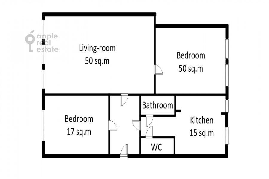 Floor plan of the 3-room apartment at Makarenko 2/21s2