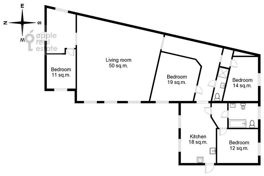 Поэтажный план 5-комнатной квартиры по адресу Гоголевский бул. 23