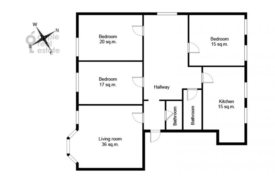Floor plan of the 5-room apartment at Znamenka ul. 13s1