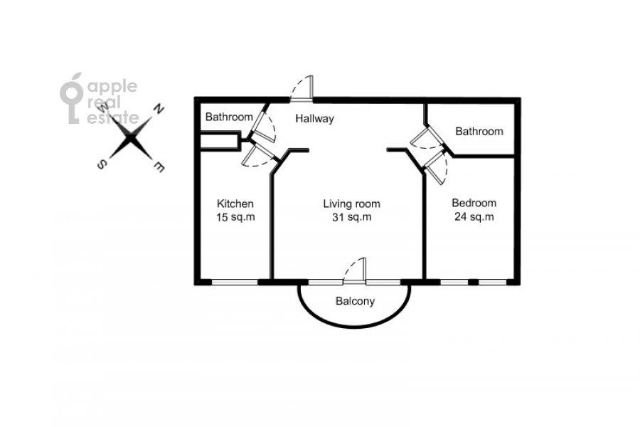 Поэтажный план 2-комнатной квартиры по адресу Кривоарбатский пер. 16/22