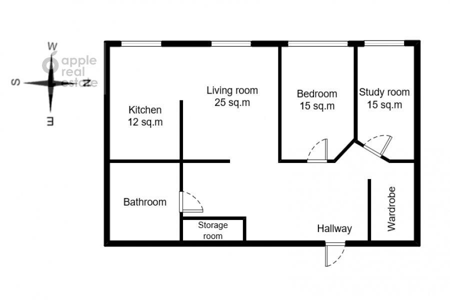 Floor plan of the 3-room apartment at Arbat 51s1