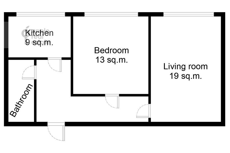 Поэтажный план 2-комнатной квартиры по адресу Смоленская ул. 10