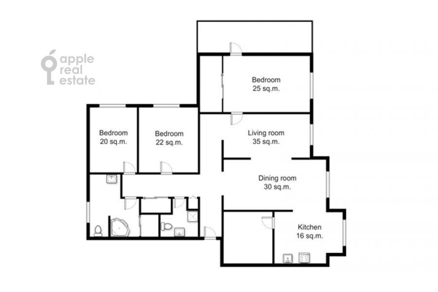 Floor plan of the 5-room apartment at Sergeya Makeeva 1