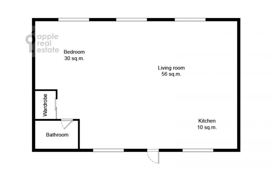 Поэтажный план 2-комнатной квартиры по адресу Староконюшенный переулок 33