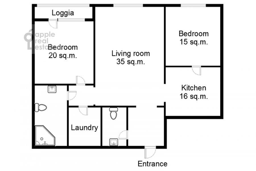 Поэтажный план 3-комнатной квартиры по адресу Давыдковская ул. 16