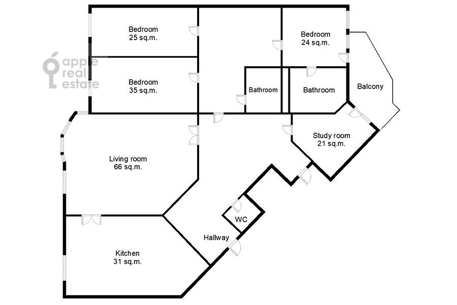 Поэтажный план 5-комнатной квартиры по адресу Минская ул. 1А