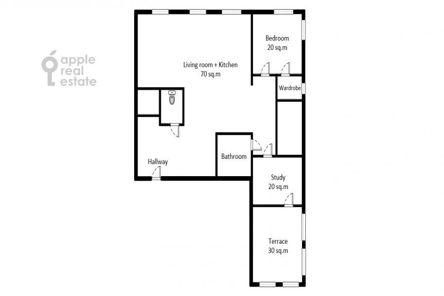 Floor plan of the 3-room apartment at Tverskaya-Yamskaya 2-ya ul. 28