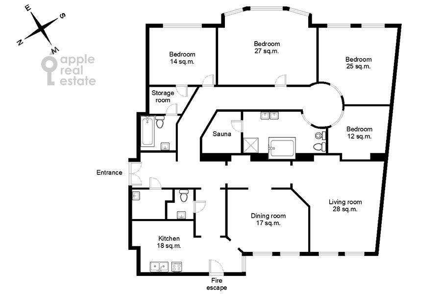 Поэтажный план 6-комнатной квартиры по адресу Архангельский переулок 7