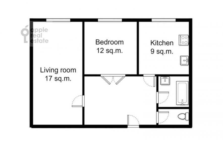 Поэтажный план 2-комнатной квартиры по адресу Кудринская площадь 1
