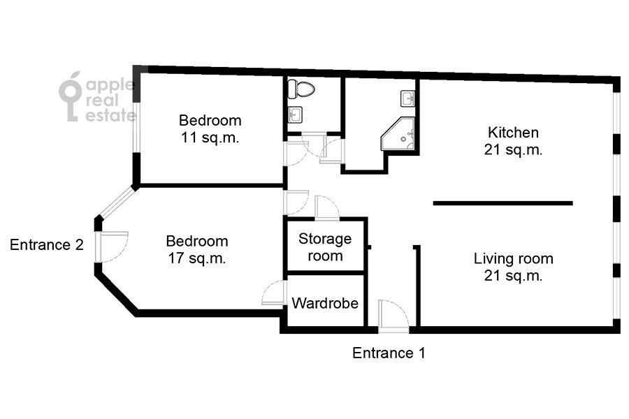 Поэтажный план 3-комнатной квартиры по адресу Малый Левшинский переулок 7