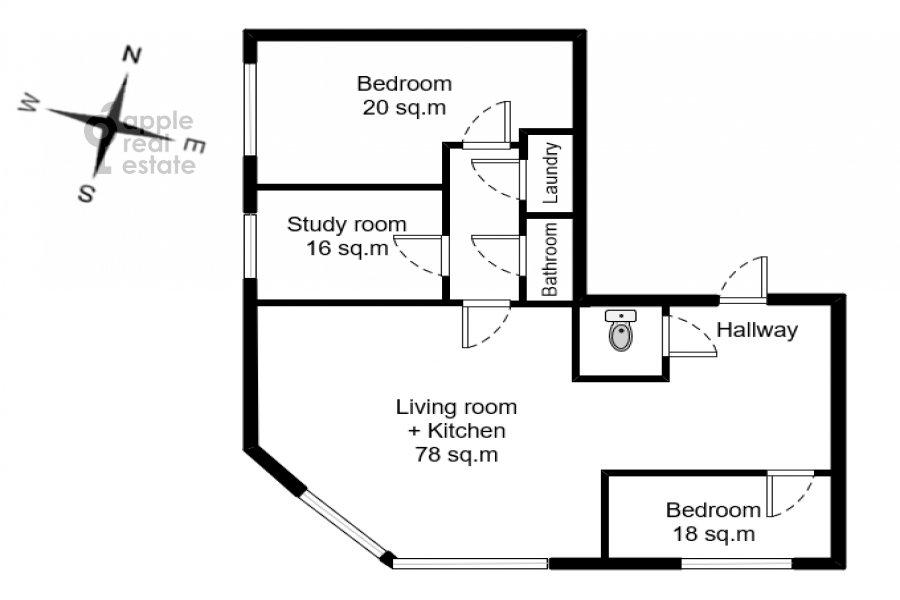Поэтажный план 4-комнатной квартиры по адресу Красная Пресня ул. 7