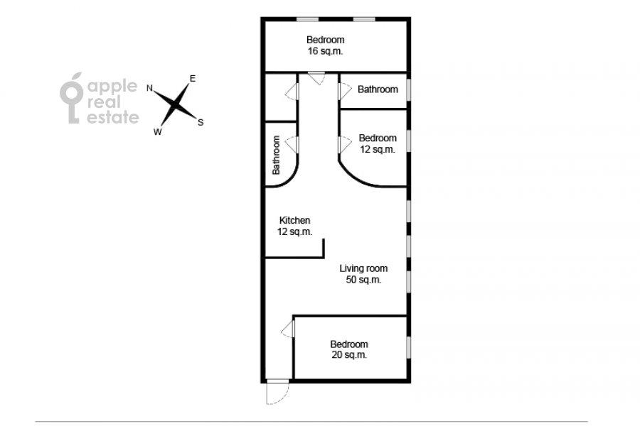 Floor plan of the 4-room apartment at Krivokolennyy per. 14