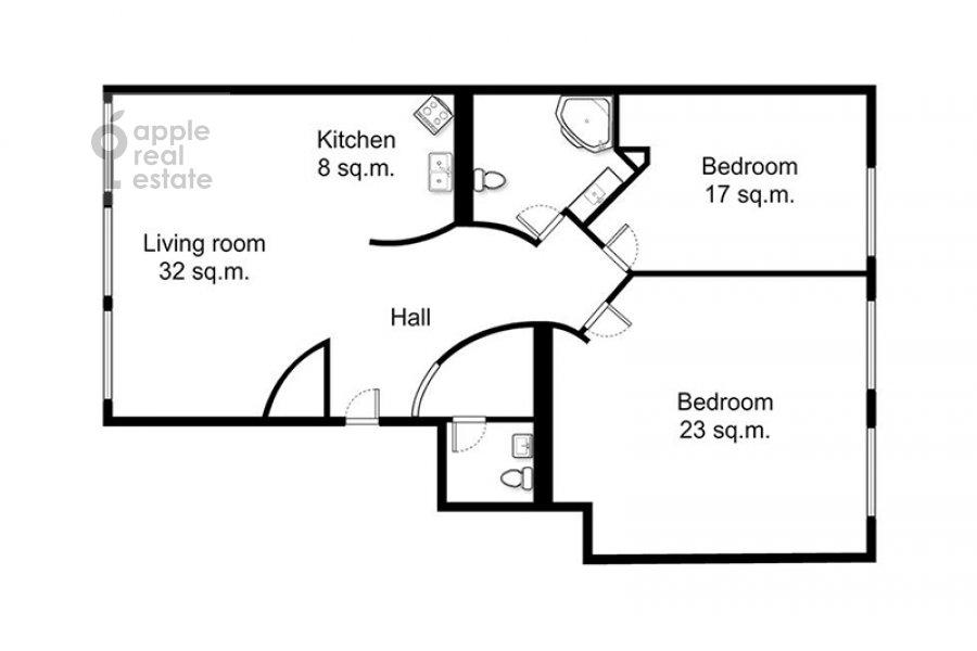 Floor plan of the 3-room apartment at Malyy Tolmachevskiy pereulok 8