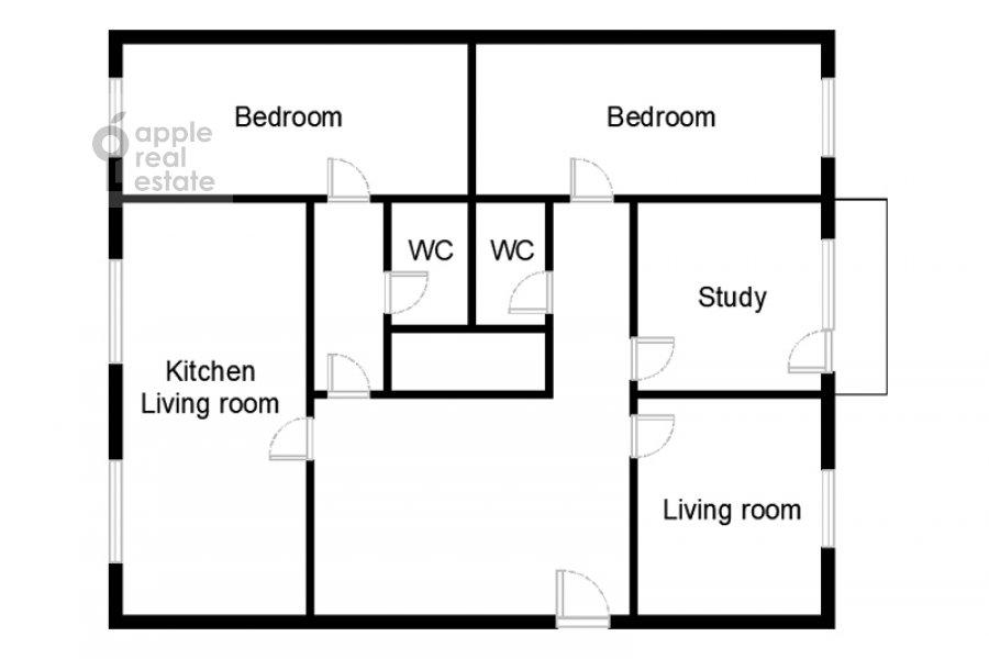 Поэтажный план 5-комнатной квартиры по адресу 60-летия Октября пр-т. 19