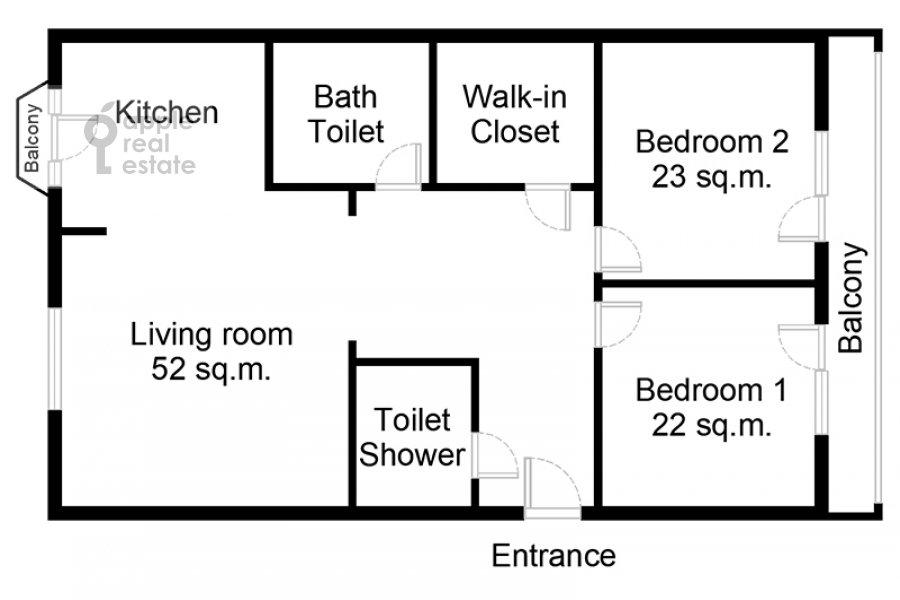 Поэтажный план 3-комнатной квартиры по адресу Климентовский пер. 2