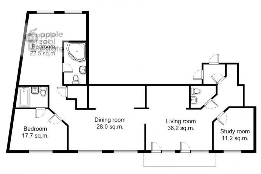 Floor plan of the 5-room apartment at Bol'shoy Patriarshiy pereulok 8