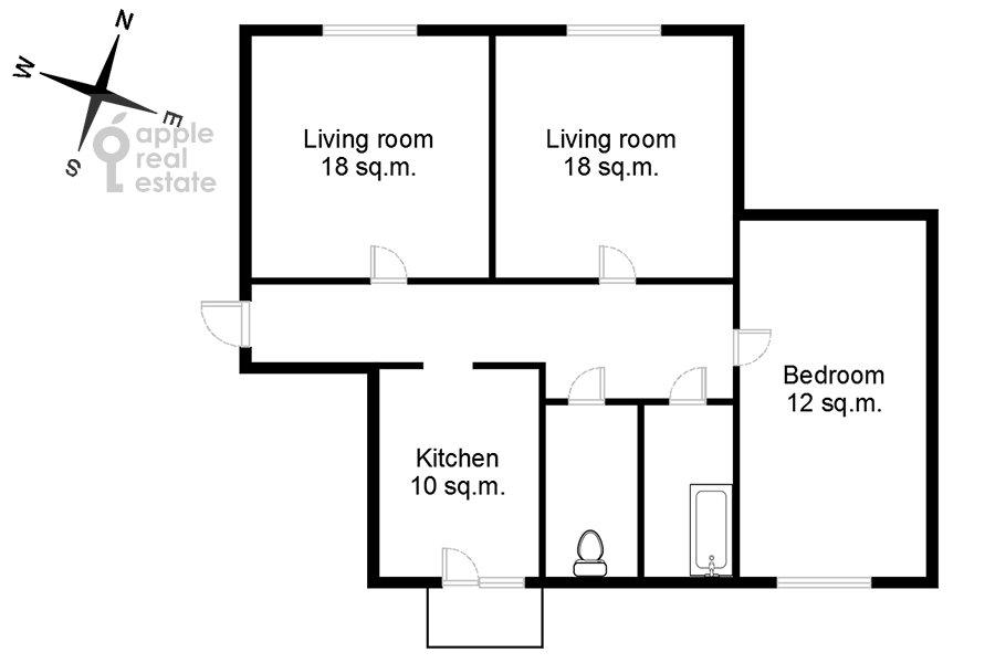Поэтажный план 3-комнатной квартиры по адресу Татарская Большая ул. 25-27с1